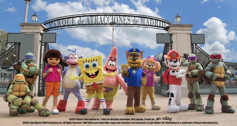 Muñecos Nickelodeon parque de atrcciones madrid