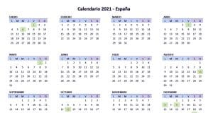 Calendario festivos Madrid 2021