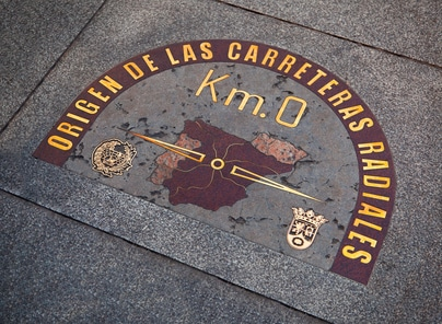 Kilómetro 0 en Puerta del Sol de Madrid